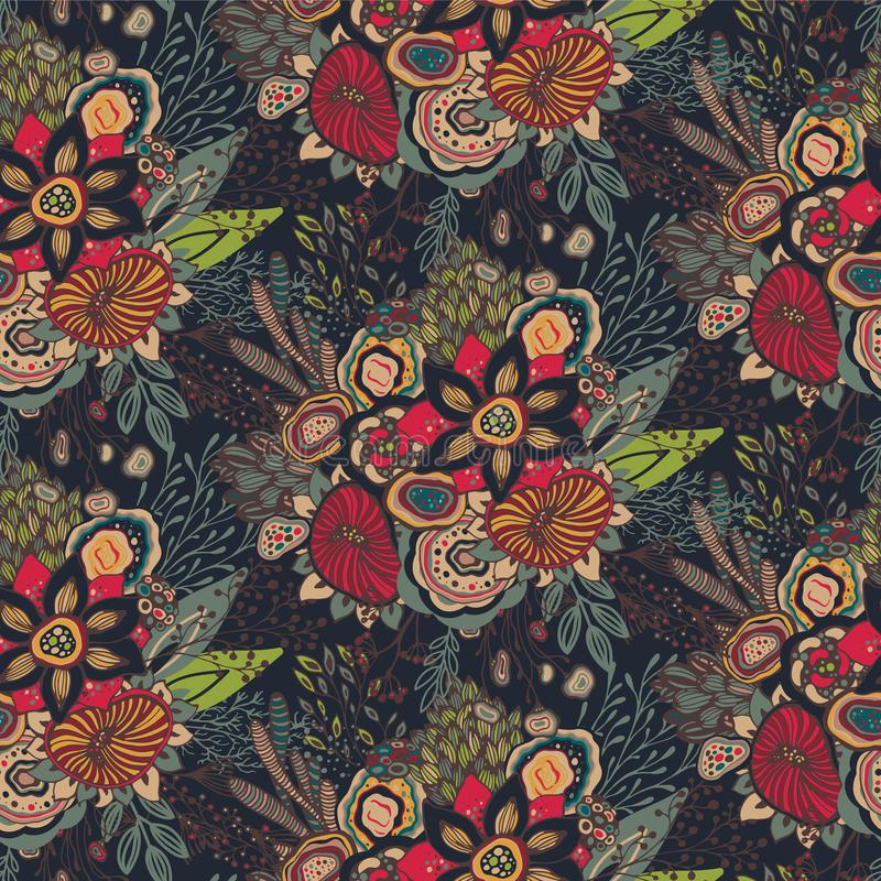 Seamless pattern with hand drawn floral fantasy motif stock illustration