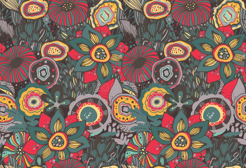 Seamless pattern with hand drawn floral fantasy motif vector illustration