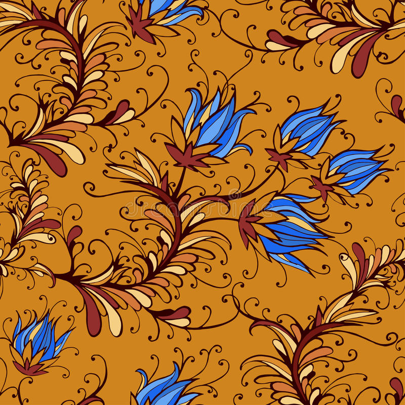 Seamless pattern with hand drawn flowers and floral elements. royalty free illustration