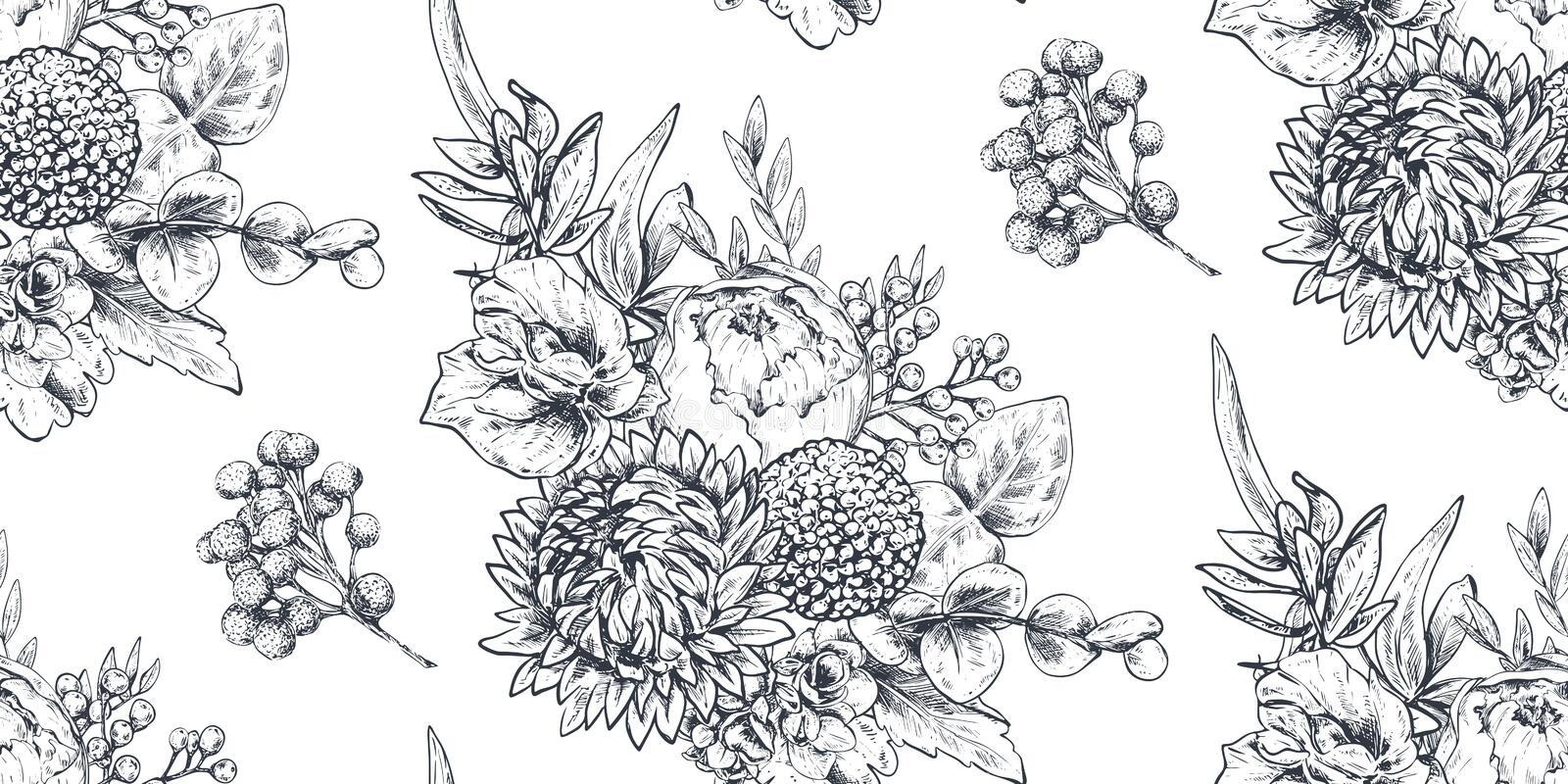 Seamless pattern with hand drawn flowers and plants in sketch style. stock photography
