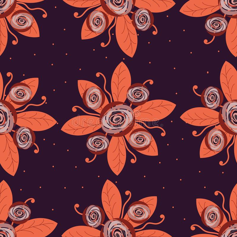 Seamless pattern, hand-drawn flowers similar to roses or peonies, red, crimson, autumn shades. Textiles, fashion, autumn card royalty free illustration