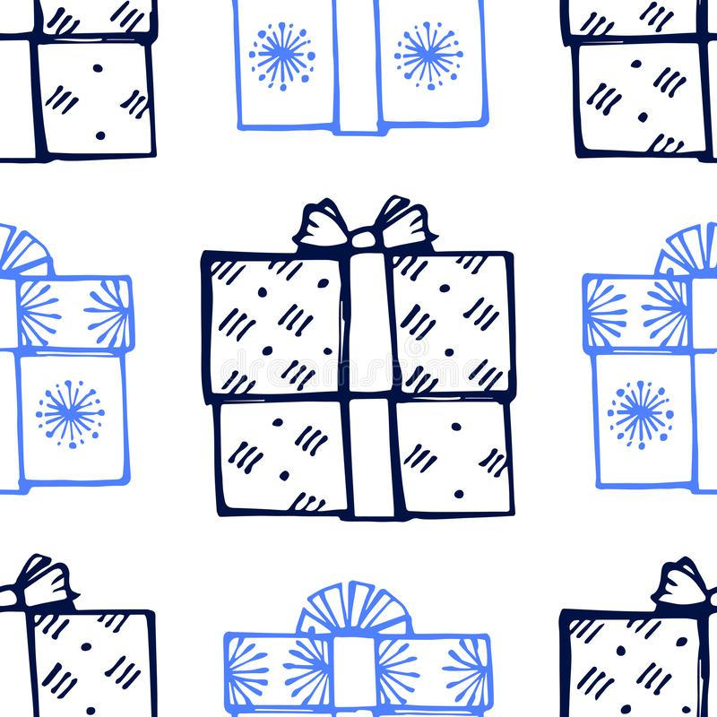 Seamless pattern with hand drawn gift boxes иллюстрация вектора