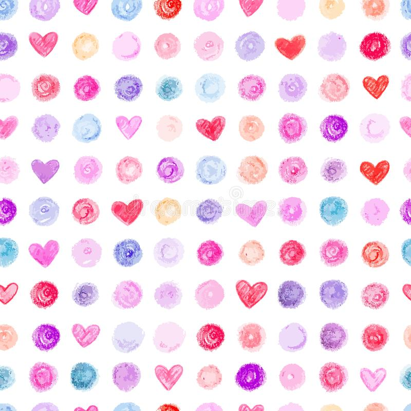 Seamless pattern with hand drawn hearts and dots stock illustration