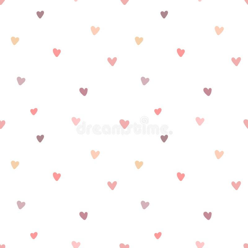 Seamless pattern of hand-drawn hearts at a great distance. Vector image for Valentine`s Day, lovers, prints, clothes, textiles, ca. Rds, holidays, children, baby stock illustration