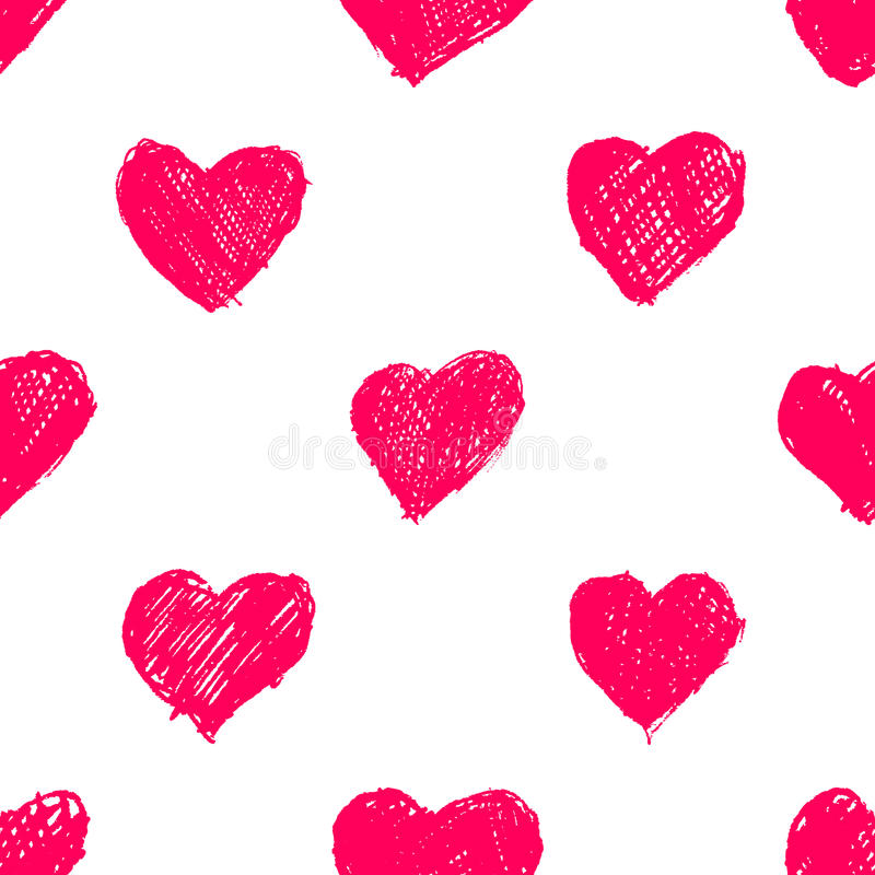 Seamless pattern with hand drawn hearts royalty free illustration