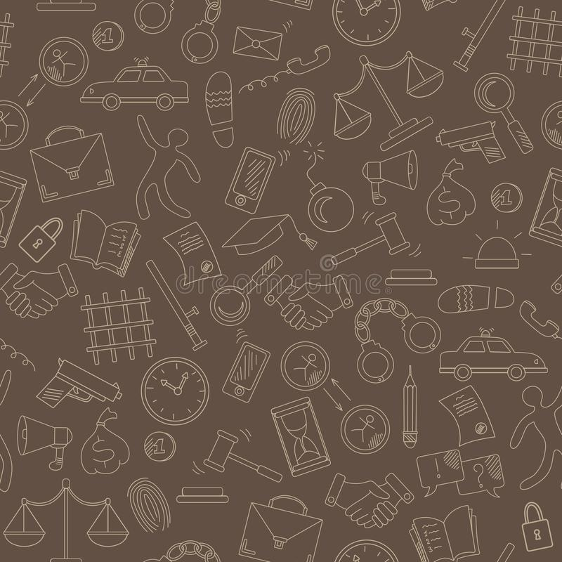 Seamless illustration with hand drawn icons on the theme of law and crimes, beige outline on a brown background. Seamless pattern with hand drawn icons on the royalty free illustration