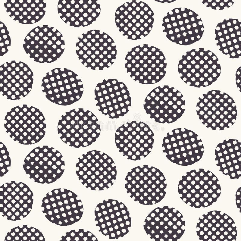 Seamless pattern. Hand drawn imperfect polka dot spot shape background. Monochrome textured dotty black and white imperfect circle. Seamless pattern. Hand drawn vector illustration