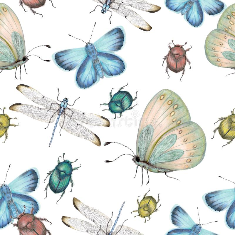 Seamless pattern of hand drawn insects stock illustration