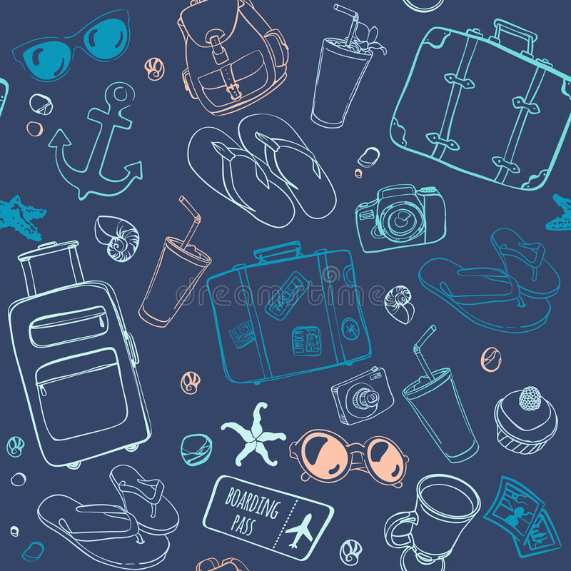 Seamless pattern with hand drawn journey items. Colorful suitcases, sunglasses, beverages, flip flops, cameras, seashells and other travel elements on dark blue royalty free illustration