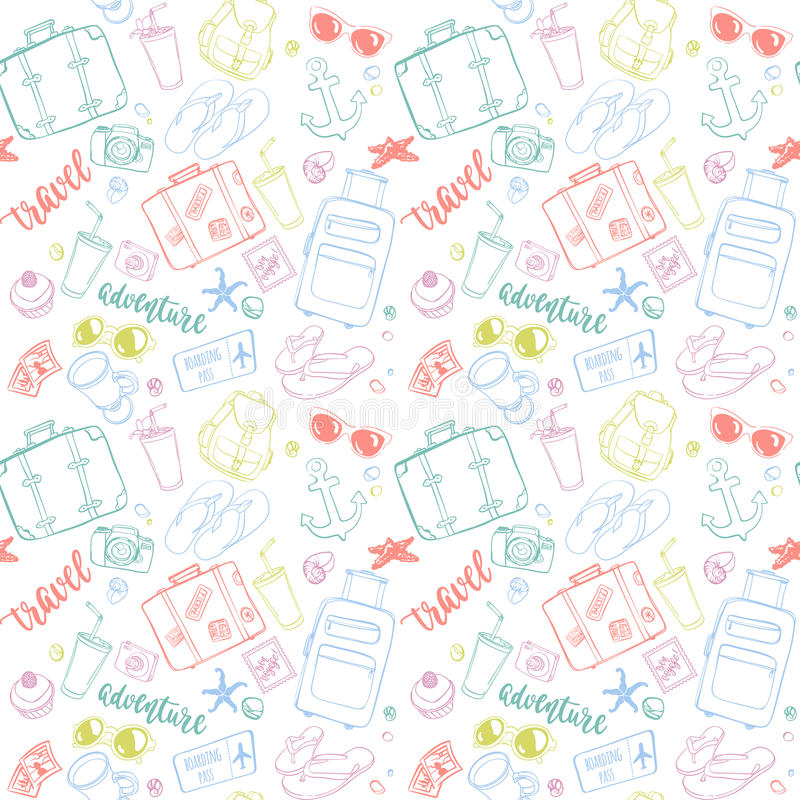 Seamless pattern with hand drawn journey items. Colorful suitcases, sunglasses, beverages, flip flops, cameras, seashells and other travel elements on white stock illustration