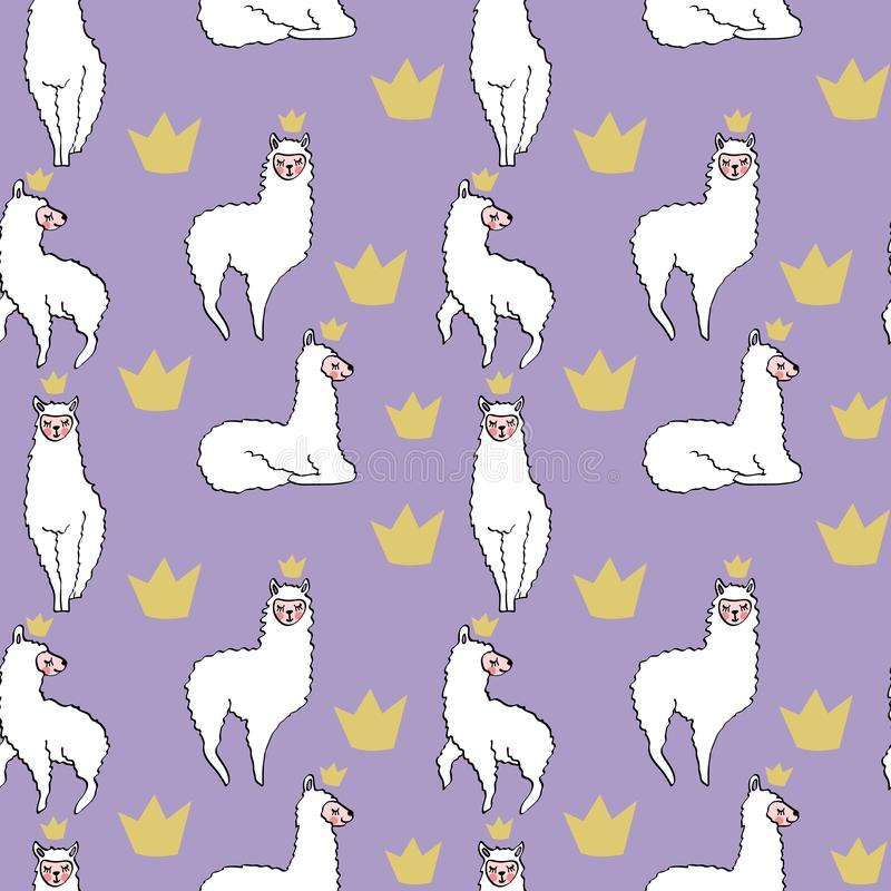 Seamless pattern with hand drawn lamas with crowns stock illustration