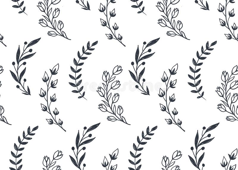 Seamless pattern with hand drawn leaves and branches. Vector endless natural background. stock illustration