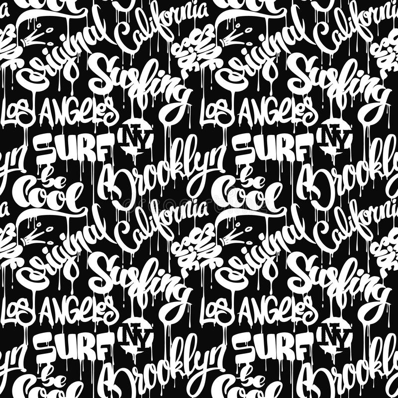 Seamless pattern with hand drawn lettering royalty free illustration