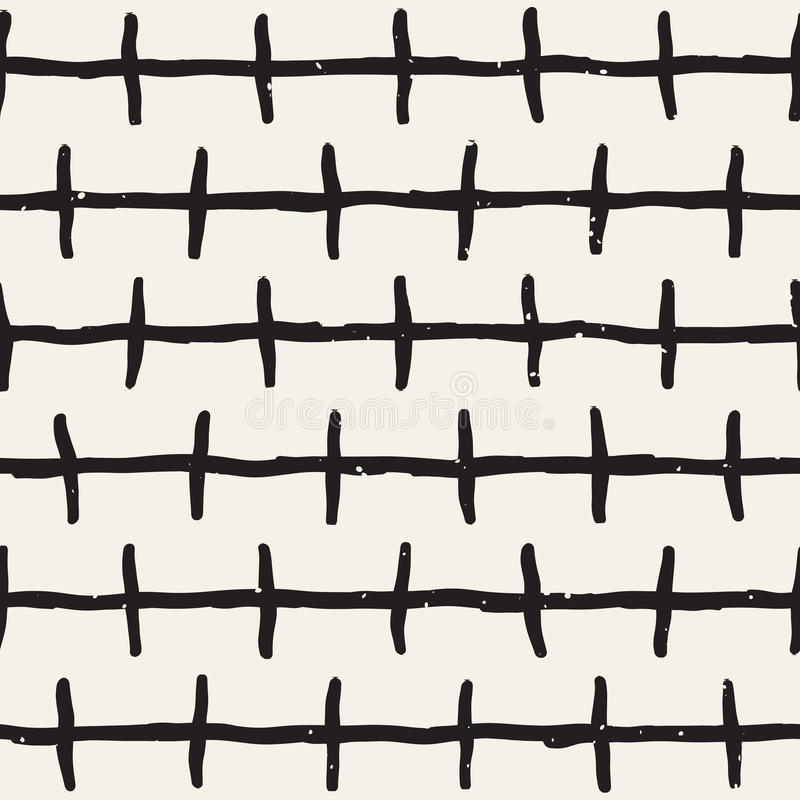 Seamless pattern with hand drawn lines. Abstract background with freehand brush strokes. Black and white texture. Seamless pattern with hand drawn lines royalty free illustration