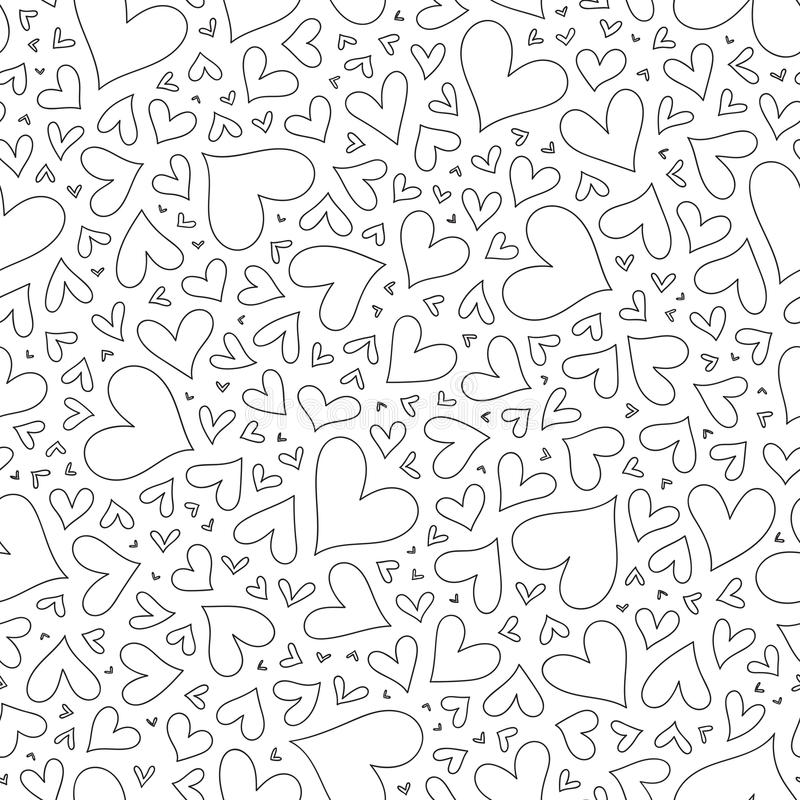Seamless pattern with hand drawn monochrome hearts in zentangle royalty free illustration