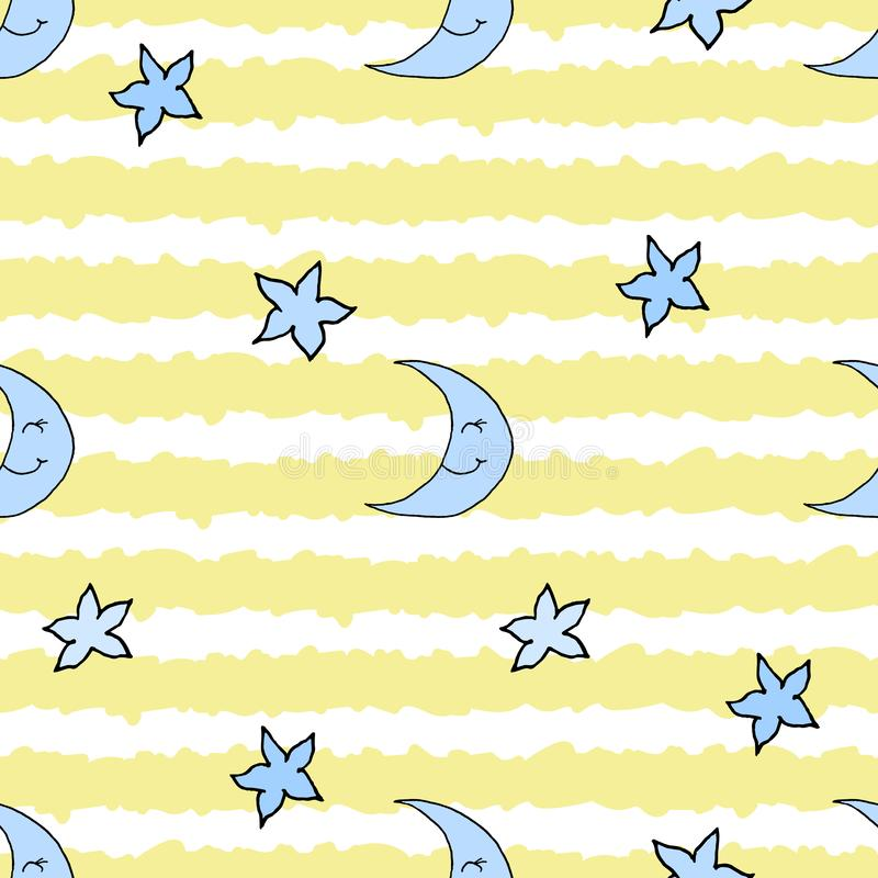 Seamless pattern with hand drawn moon, stars and yellow stripes. Vector illustration. EPS10 royalty free illustration