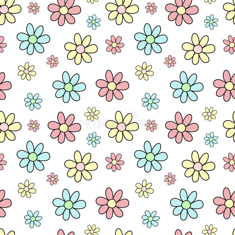 Seamless pattern of hand-drawn multicolored flowers. Vector background image for holiday, baby shower, girl's birthday, prints i royalty free illustration
