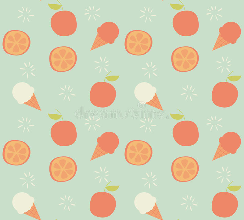 Seamless pattern with hand drawn orange fruit and ice cream royalty free illustration