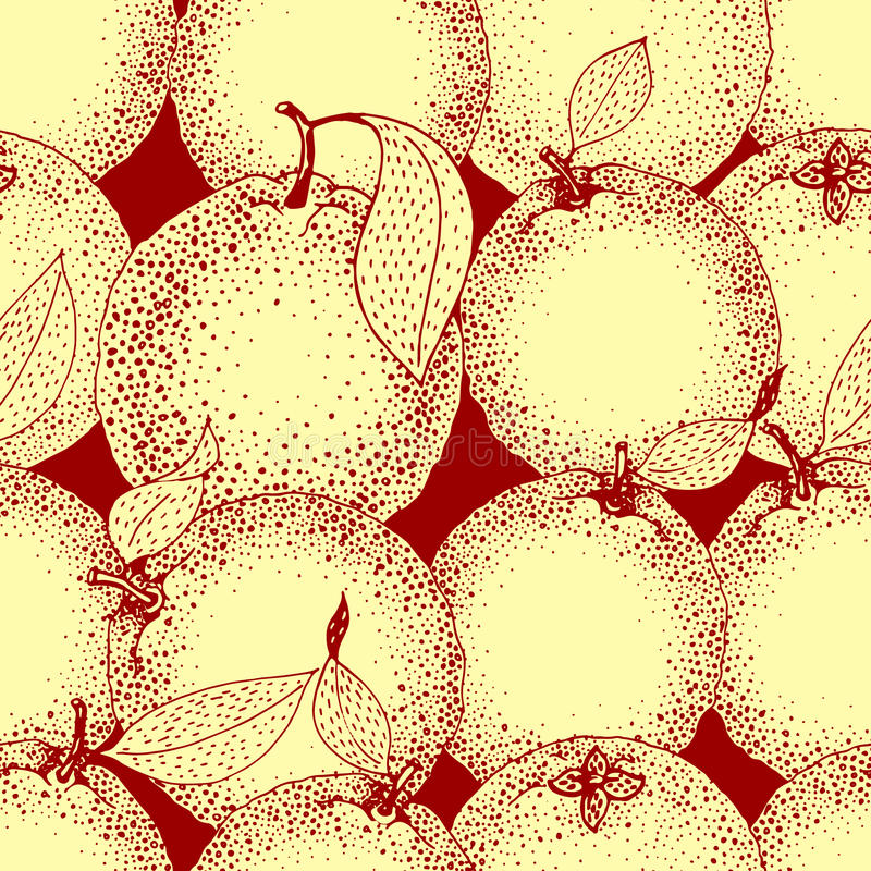 Seamless pattern of hand drawn oranges and slices in sketch style. Vector illustration vector illustration