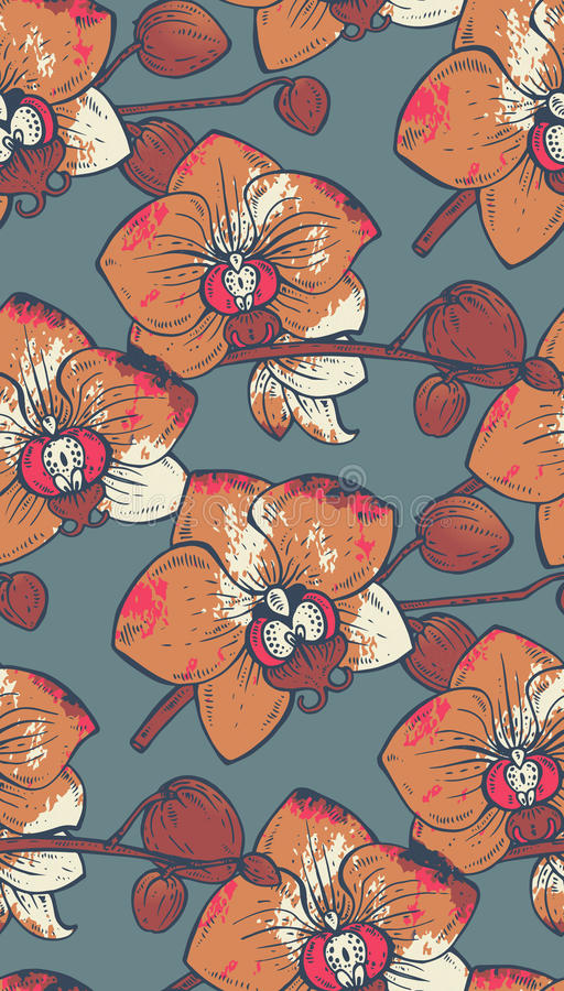 Seamless pattern with hand drawn orchid flowers with watercolor vector illustration