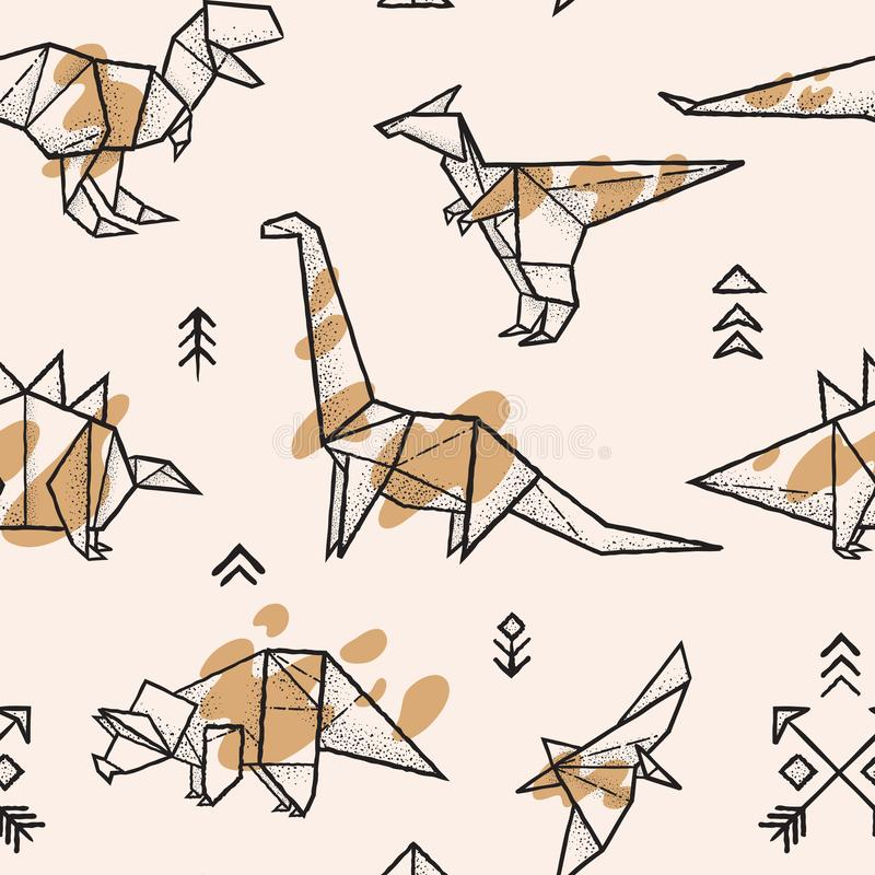 Origami dinosaurs with splashes seamless pattern. Trendy hand drawn vector illustration vector illustration