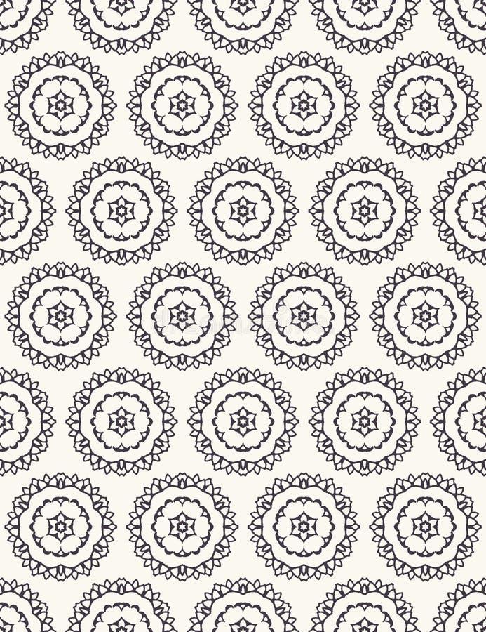 Seamless pattern hand drawn ornamental azulejo polka dot background. Geometric monochrome allover print. Vector floral circle. Seamless pattern hand drawn stock photo