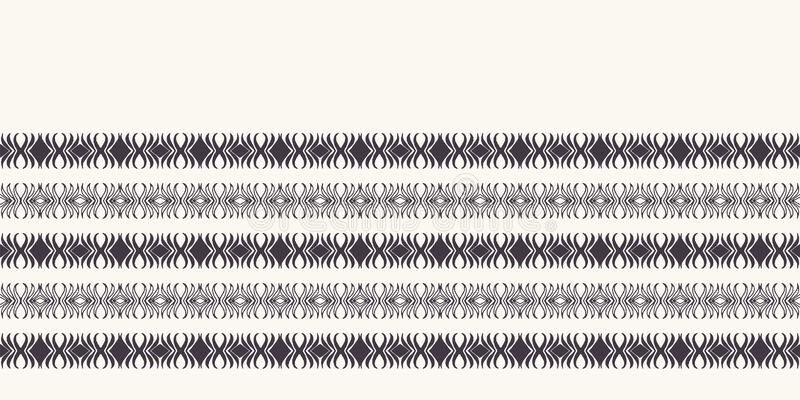 Seamless pattern hand drawn ornamental stripe background. Geometric ethnic tribal stripe. Vector line art ribbon edging trim. Seamless pattern hand drawn vector illustration