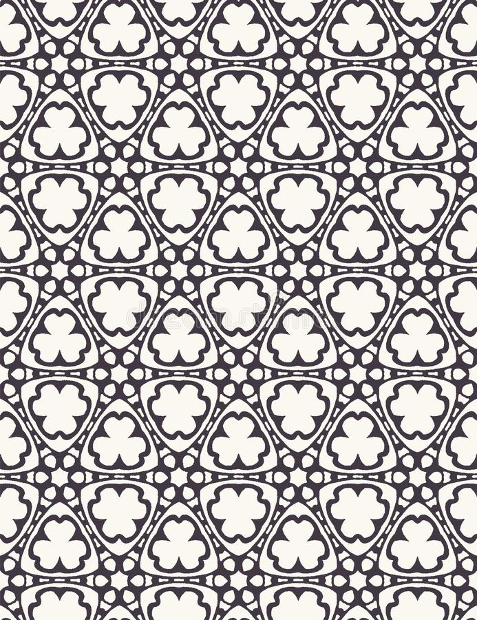 Seamless pattern hand drawn ornamental tracery motif circle background. Trellis stylized allover print. Vector intricate floral. Seamless pattern hand drawn stock illustration