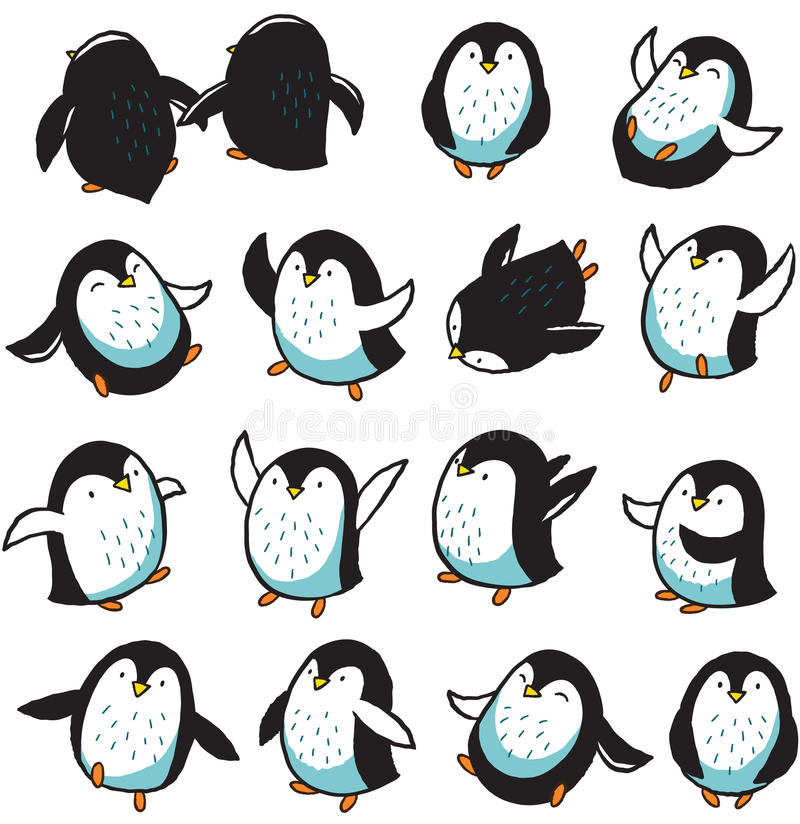 Seamless pattern with hand drawn penguins. Seamless pattern of hand drawn cartoon penguins. Vector illustration stock illustration