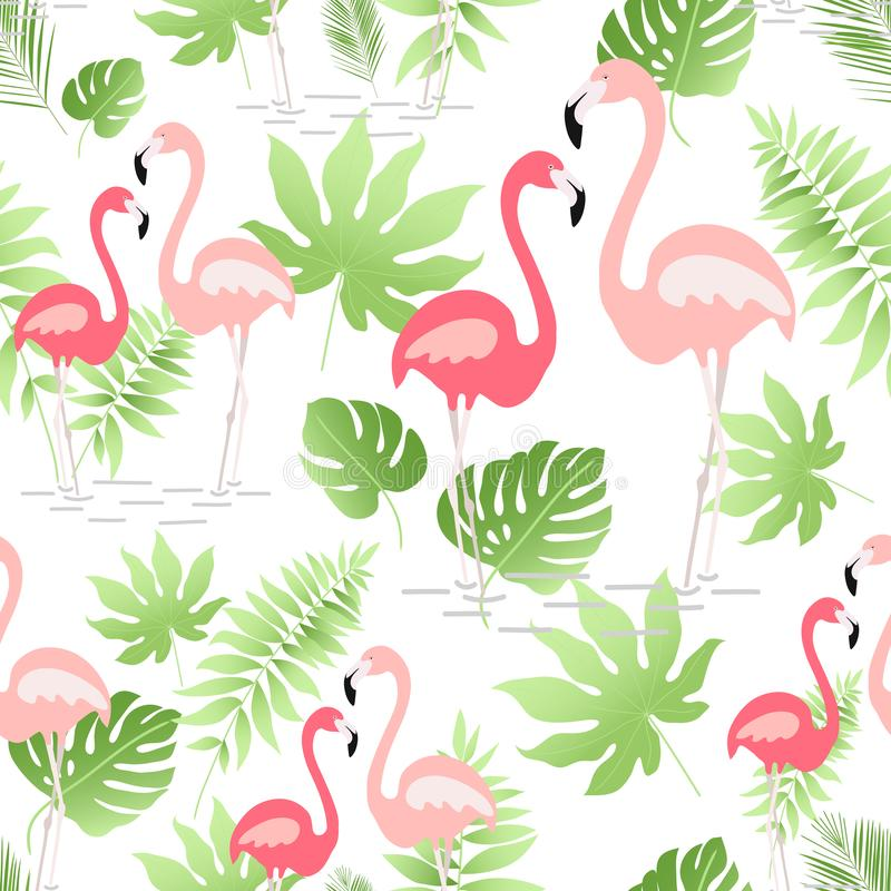 A seamless pattern with hand drawn a pink flamingo and tropical leaves - Vector stock photos