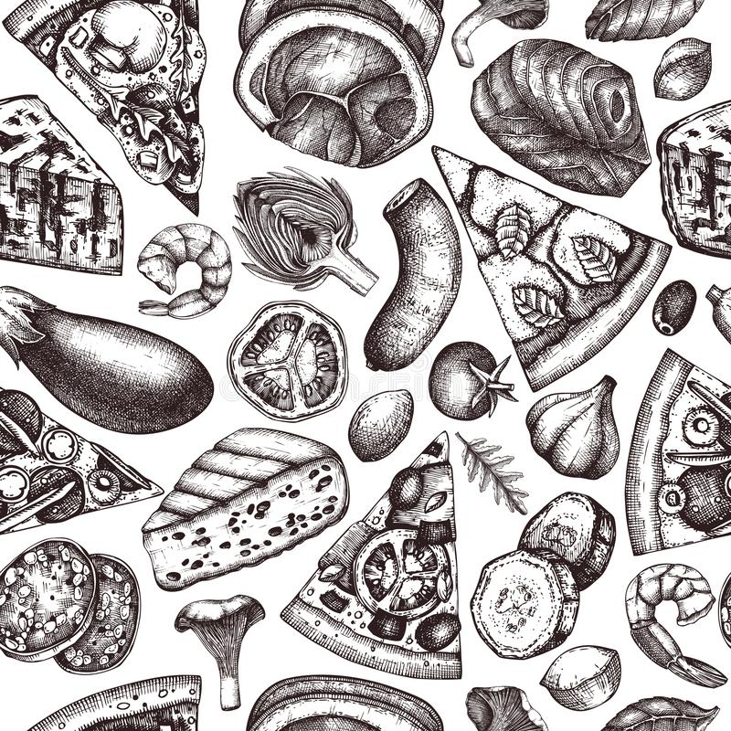 Seamless pattern with hand drawn Pizza ingredients sketches. Vector Italian food drawing. Engraving style Fast food background wit. H meat, cheese, seafood vector illustration