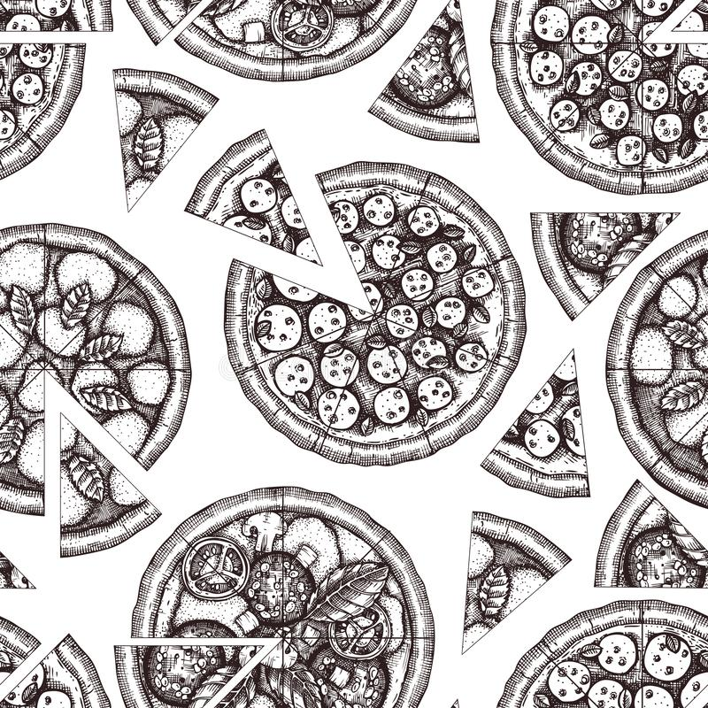 Seamless pattern with hand drawn Pizza sketches. Vector Italian food drawing. Engraving style Fast food background for cafe or piz vector illustration