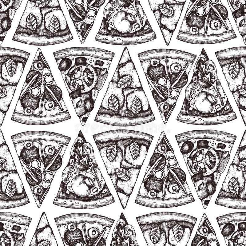 Seamless pattern with hand drawn Pizza slice sketches. Vector Italian food drawing for packaging. Engraving style Fast food backgr. Ound isolated on white vector illustration