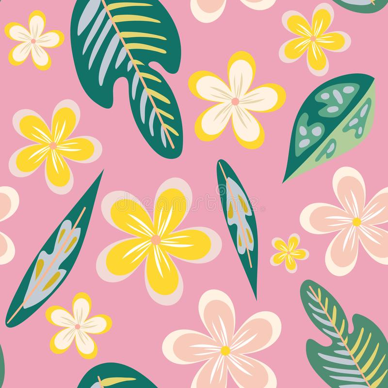Seamless pattern of hand drawn plumeria tropical flowers and leaves on a pink background. stock illustration