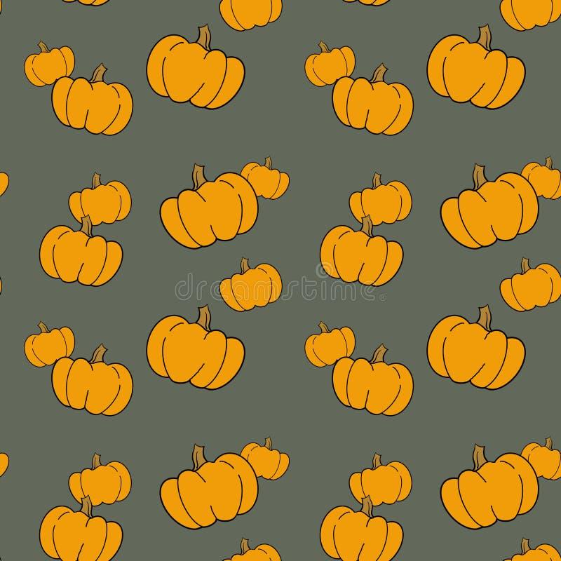 Seamless pattern with hand drawn pumpkins. stock illustration
