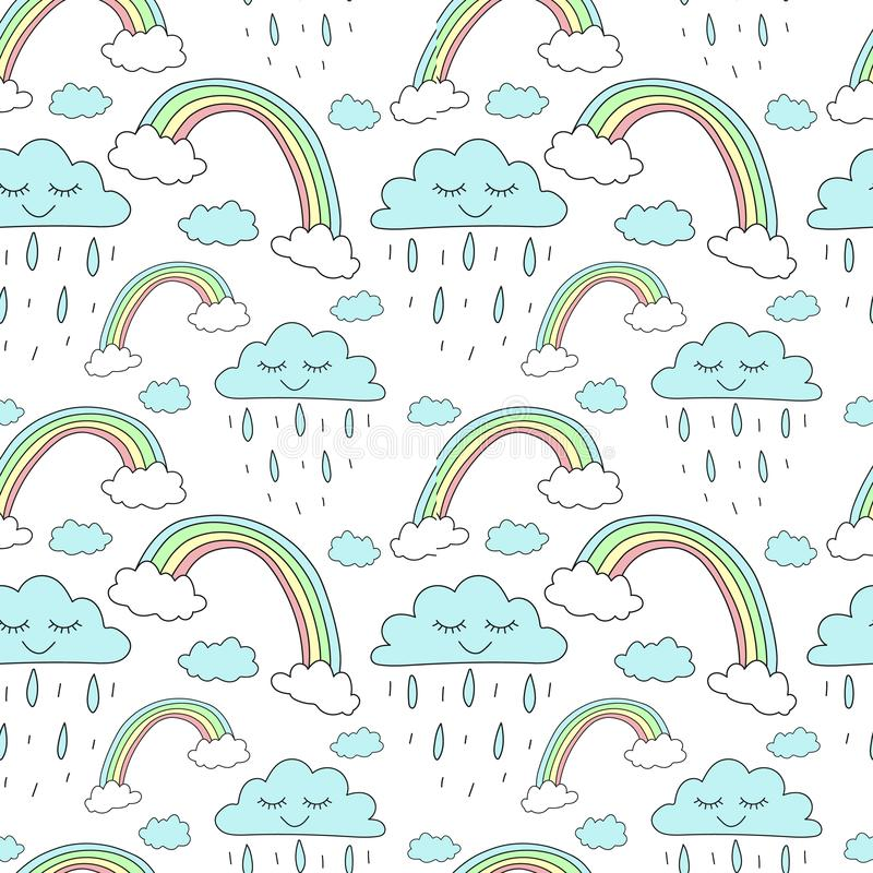 Seamless pattern of hand-drawn rainbows and clouds with rain. Vector background image for holiday, baby shower, unicorn prints, wr. Apping paper, birthday vector illustration