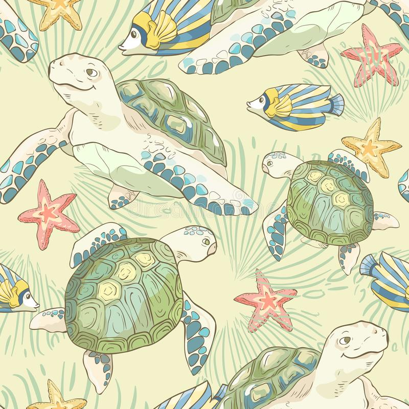 Seamless pattern with hand drawn sea fish and turtles. Sea wallpaper. Vector illustration. royalty free illustration