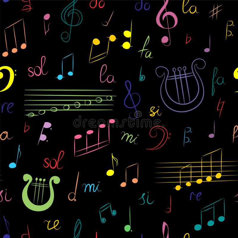 Seamless Pattern of Hand Drawn Set of Music Symbols. Colorful Doodle Treble Clef, Bass Clef, Notes and Lyre on Black. Sketch Styl royalty free illustration