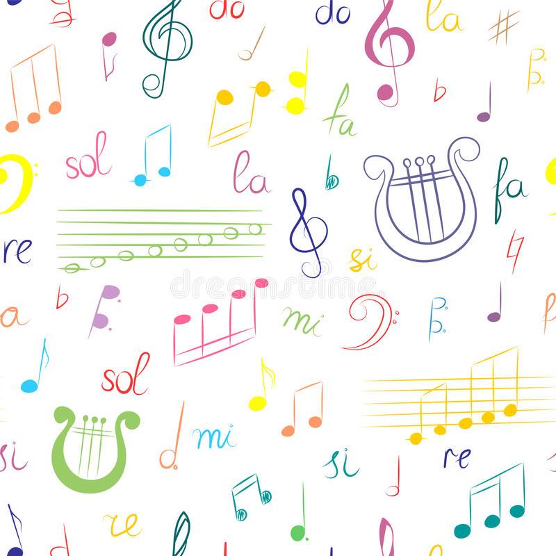 Seamless Pattern Of Hand Drawn Set Of Music Symbols Colorful Doodle
