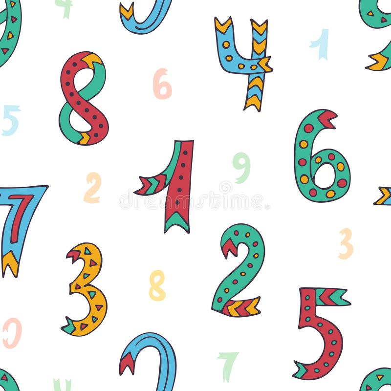 Seamless pattern with hand drawn sketched and doodled kids numbers isolated on white background. royalty free illustration
