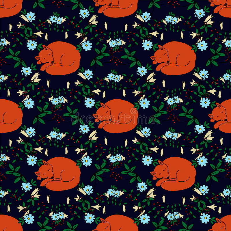 Seamless pattern with hand-drawn sleeping cute fox and flowers royalty free illustration