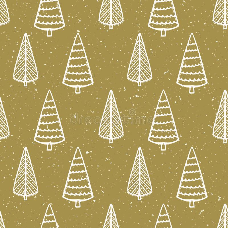 Seamless pattern. Hand drawn snow Christmas tree. Star fir forest snowflakes background. Traditional winter holiday all over print royalty free illustration