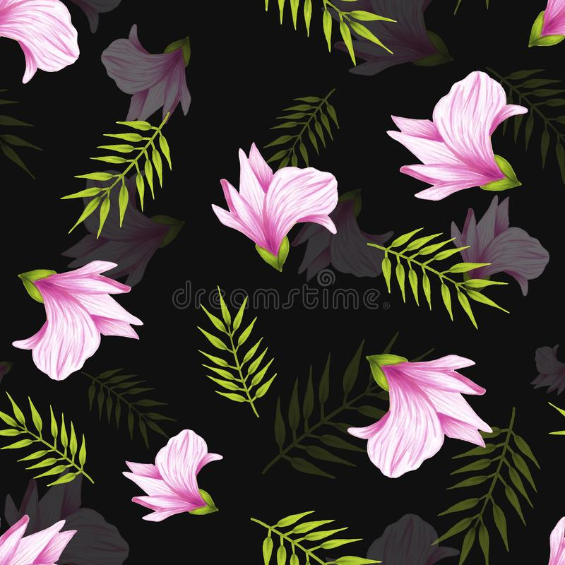 Seamless pattern of hand drawn soft pink jungle flower alstroemeria on a black background. Decorative exotic tropical. Seamless pattern of hand drawn soft pink royalty free stock photography