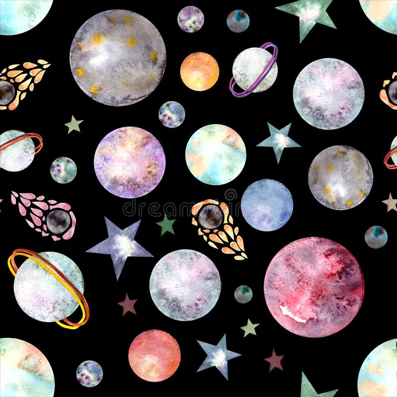 Seamless pattern with hand drawn space vector illustration