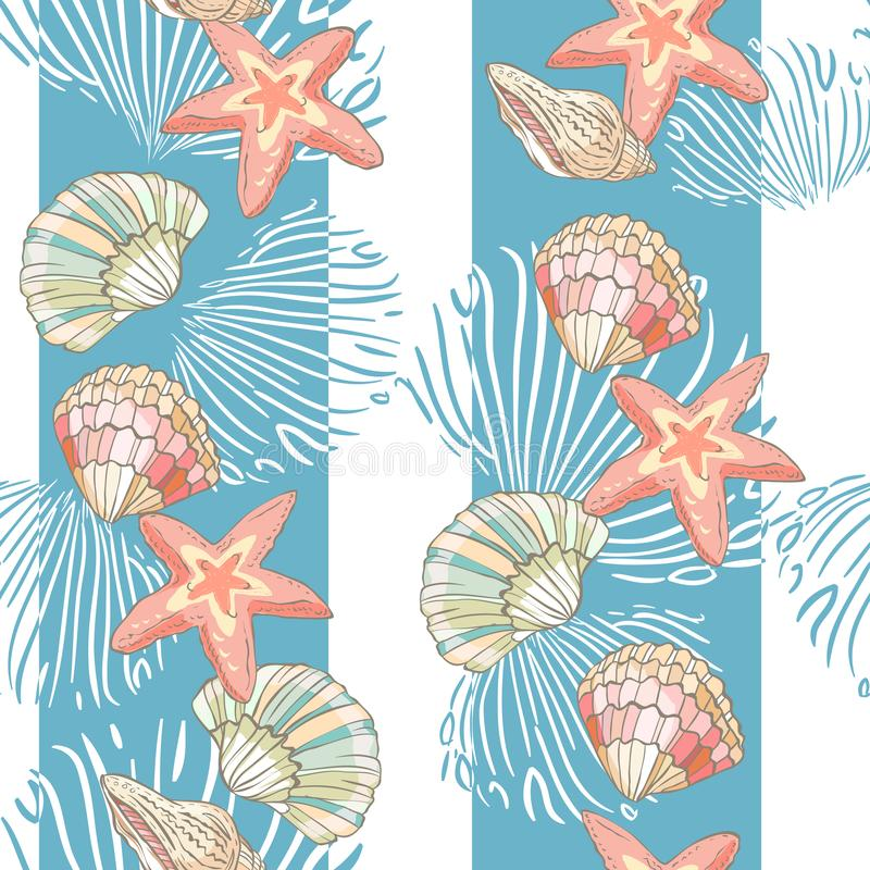 Seamless pattern with hand drawn stars and shells. Vertical endless stripes. royalty free illustration