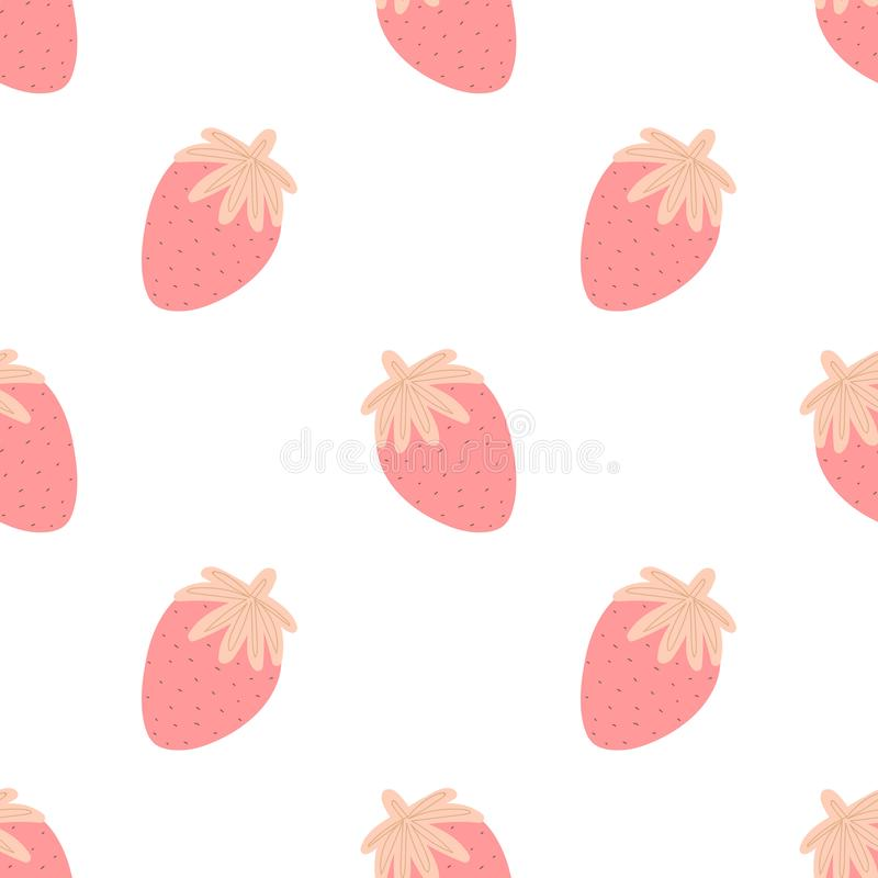 Seamless pattern of hand-drawn strawberries in pink at a great distance. Vector image for Valentine`s Day, lovers, prints, clothes. Textiles, card, holidays vector illustration