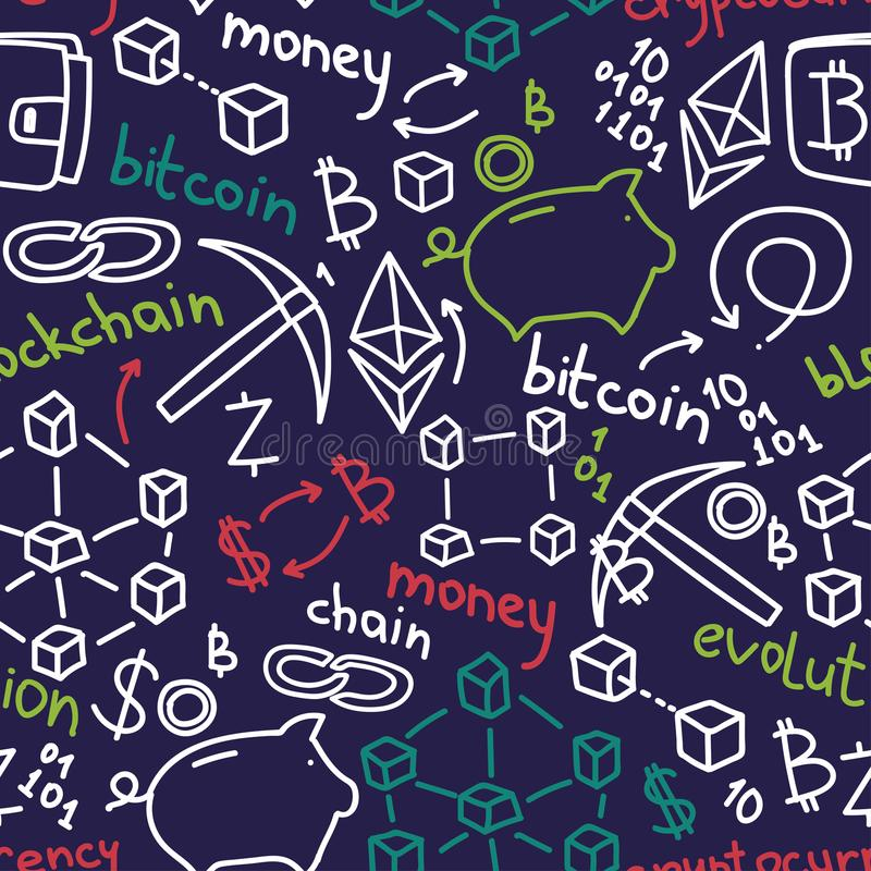 Seamless pattern in hand drawn style for cryptocurrency stock illustration