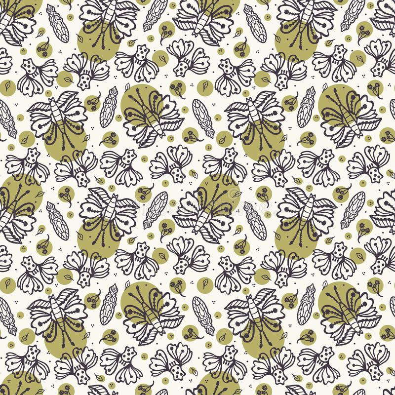 Seamless pattern hand drawn tiny falling leaf butterfly motif background. Stylized leaves ditsy dots allover print. Vector line. Seamless pattern hand drawn tiny stock illustration