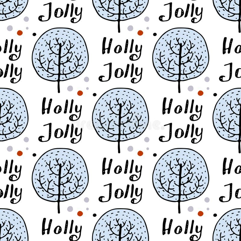 Seamless pattern of hand drawn tree. Winter forest background. Vector stock illustration