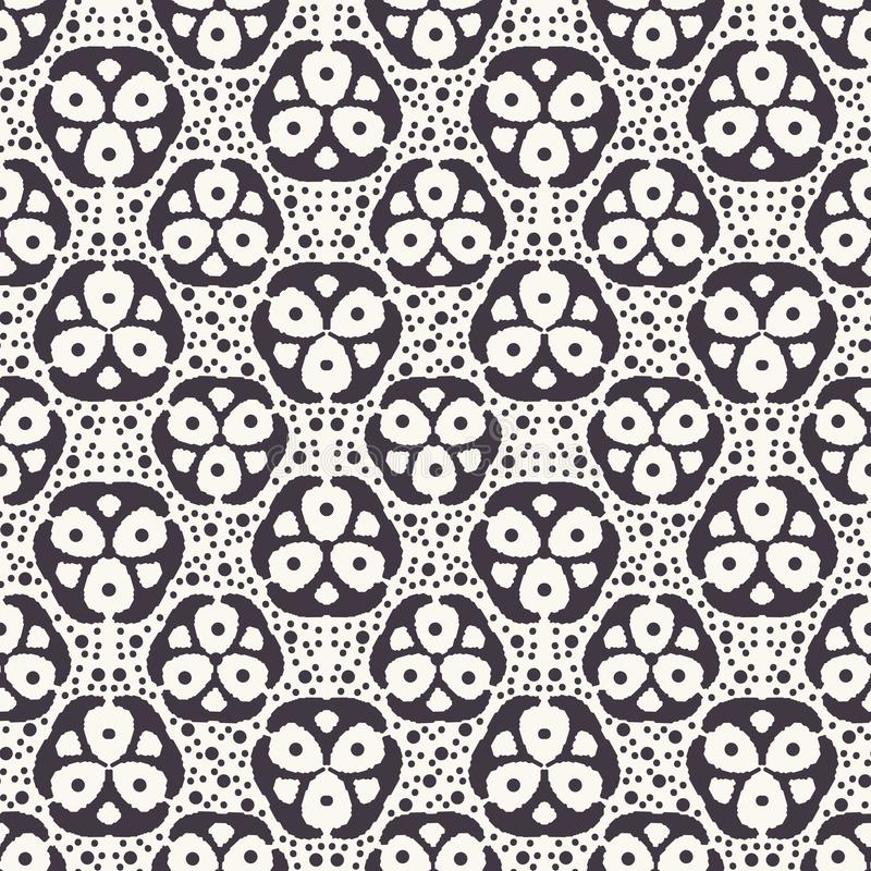 Seamless pattern. Hand drawn tri polka dot background. Monochrome dotty black and white floral circle. All over print vector royalty free illustration